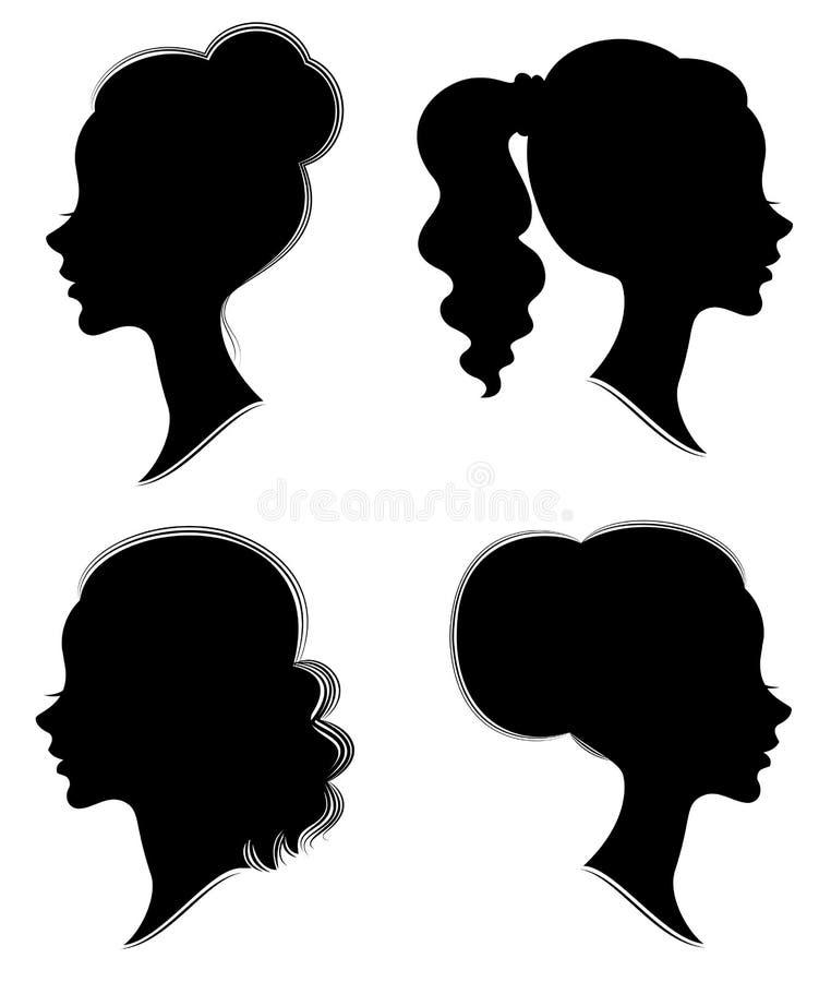 cole??o Silhueta da cabe?a de uma senhora doce A menina bonita mostra o penteado f?mea bonito no cabelo m?dio e longo apropriado ilustração royalty free