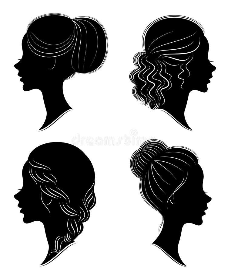cole??o Silhueta da cabe?a de uma senhora doce A menina bonita mostra o penteado f?mea bonito no cabelo m?dio e longo apropriado ilustração do vetor