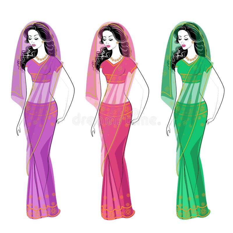 cole??o Silhueta de senhoras bonitas As meninas são vestidas nos saris, roupa nacional indiana tradicional As mulheres s?o novas  ilustração stock