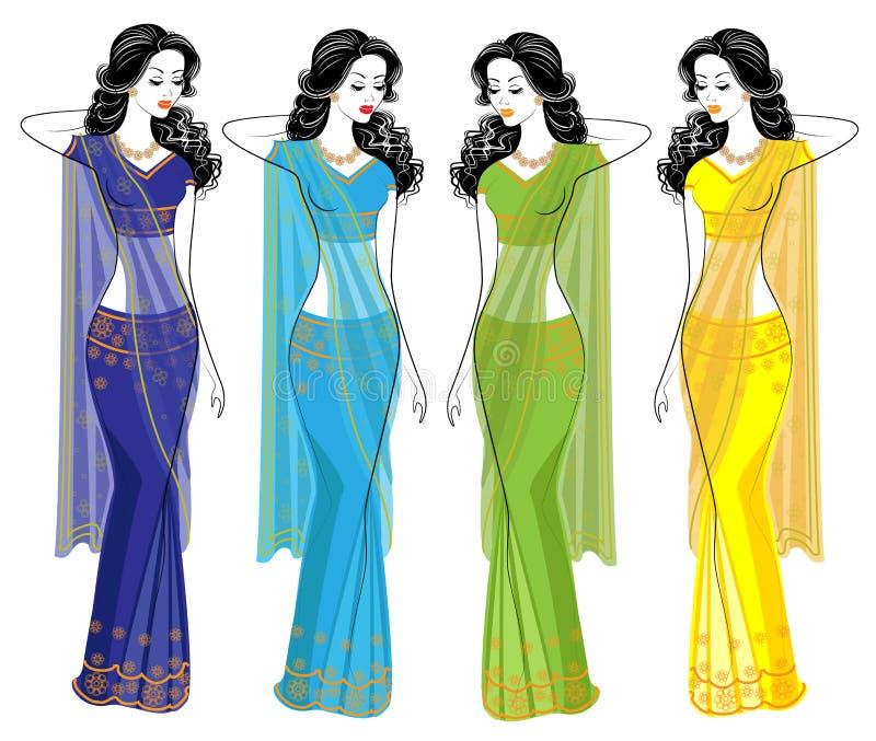 cole??o Silhueta de senhoras bonitas As meninas s?o vestidas nos saris, roupa nacional indiana tradicional As mulheres s?o novas  ilustração royalty free