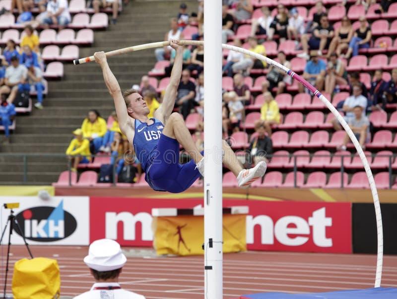 COLE-RÄTSEL USA auf Stabhochsprungsereignis auf Meisterschaft Tampere, Finnland IAAF-Weltu20 am 11. Juli 2018 stockfotos