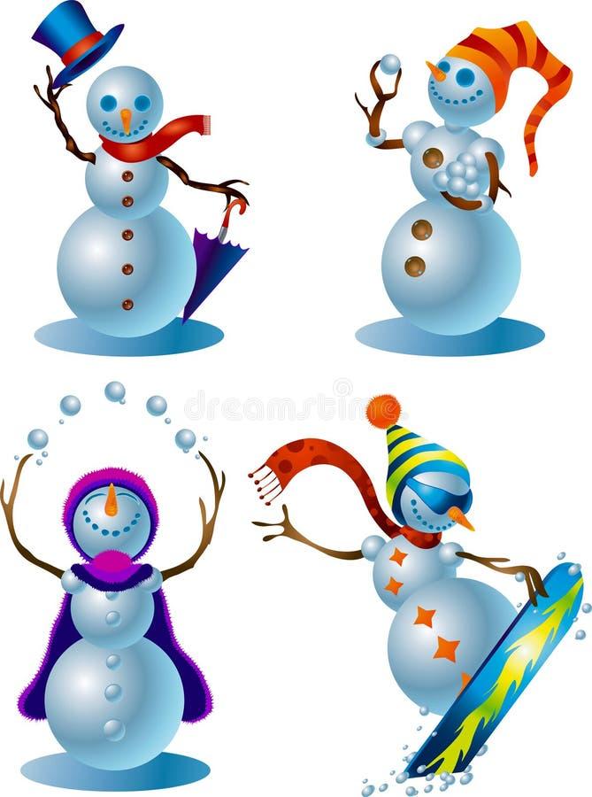 Colección 015 del diseño de carácter: Muñecos de nieve ilustración del vector