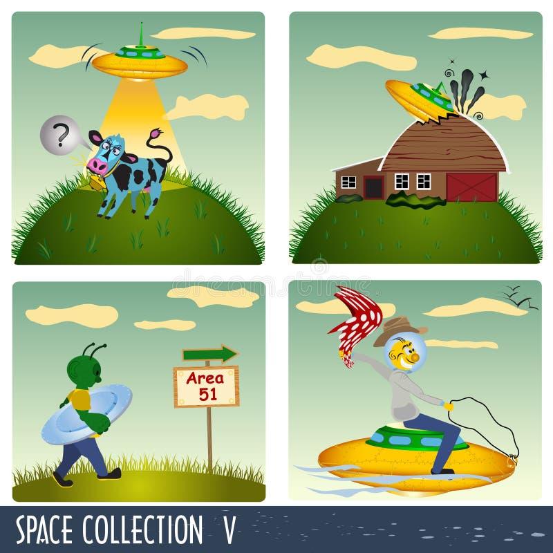 Colección 5 del espacio ilustración del vector