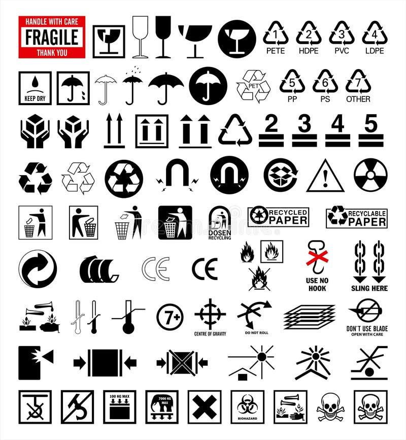 Colección 6 de las muestras - símbolos del embalaje y del envío ilustración del vector