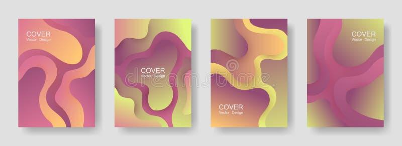 Colección abstracta de las cubiertas de las formas flúidas de la pendiente libre illustration