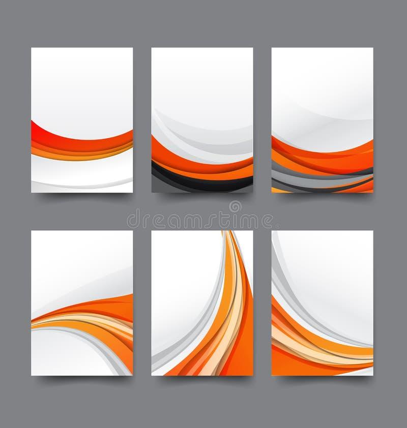 Colección abstracta del fondo de vagos anaranjados y blancos de la onda de la curva libre illustration