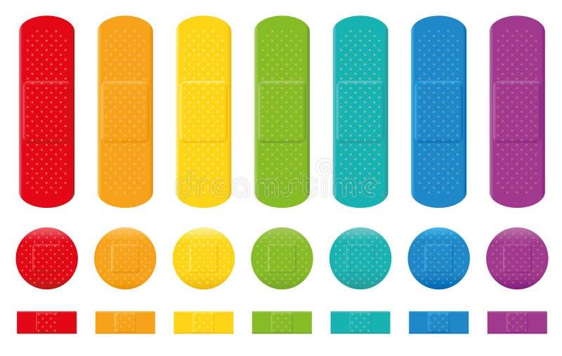 Colección adhesiva del vendaje de los colores de los yesos stock de ilustración
