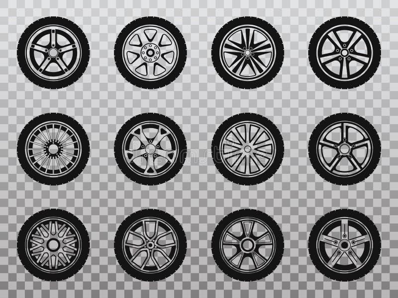Colección aislada de la rueda, del neumático y del neumático de iconos stock de ilustración