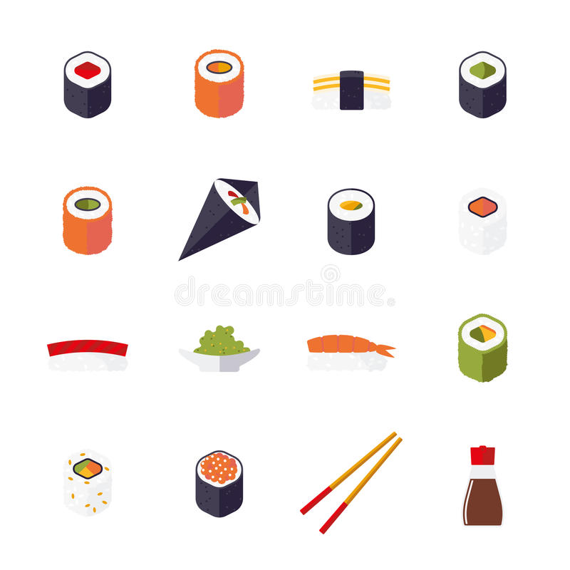 Colección aislada diseño plano de los iconos del vector del sushi stock de ilustración