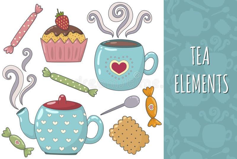 Colección aislada té de los elementos Sistema acogedor ilustración del vector