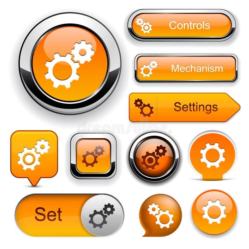 Colección alto-detallada del botón del Web de las configuraciones. stock de ilustración