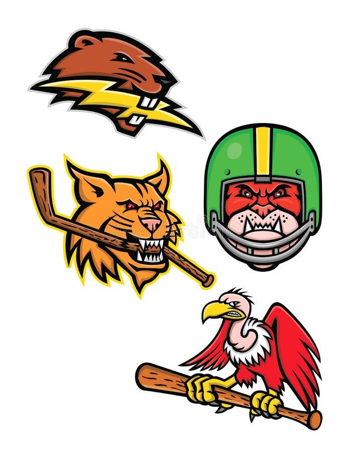 Colección americana de la mascota de los deportes de la fauna stock de ilustración