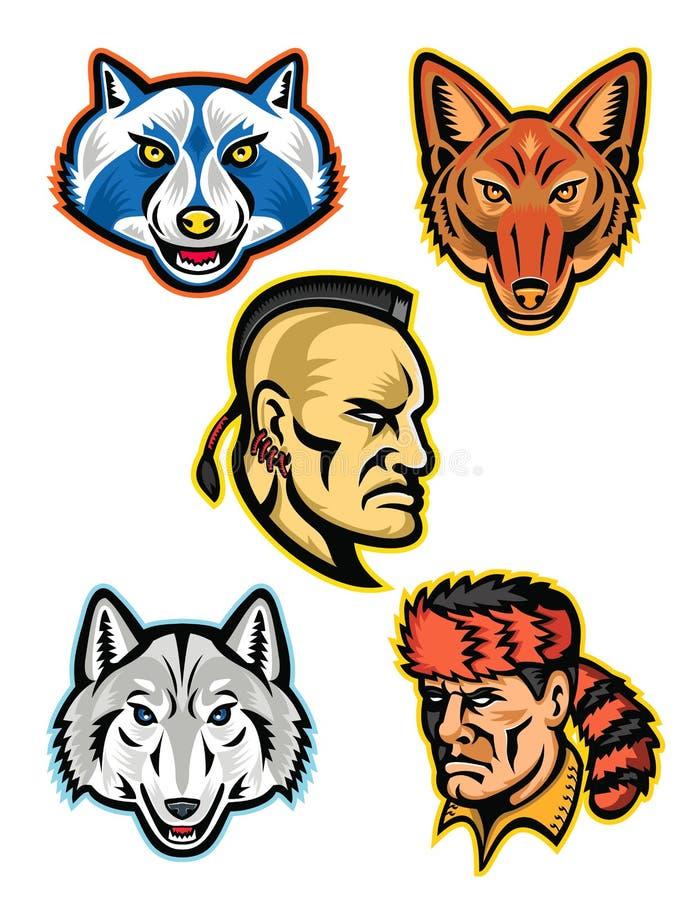 Colección americana de los héroes de la fauna y del folclore ilustración del vector