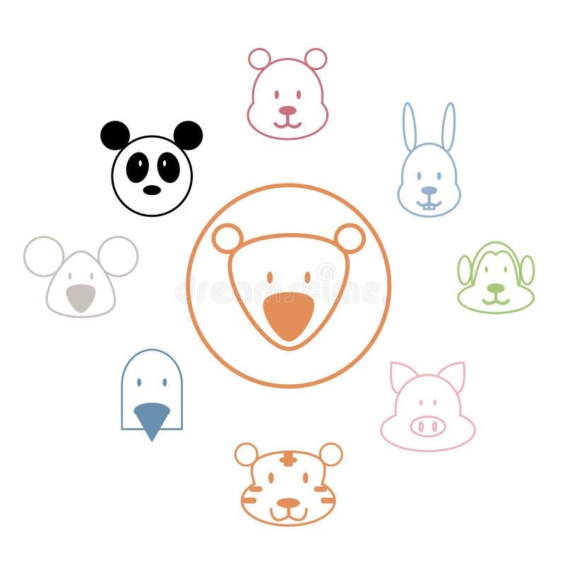 Colección animal del parque zoológico de los iconos ilustración del vector