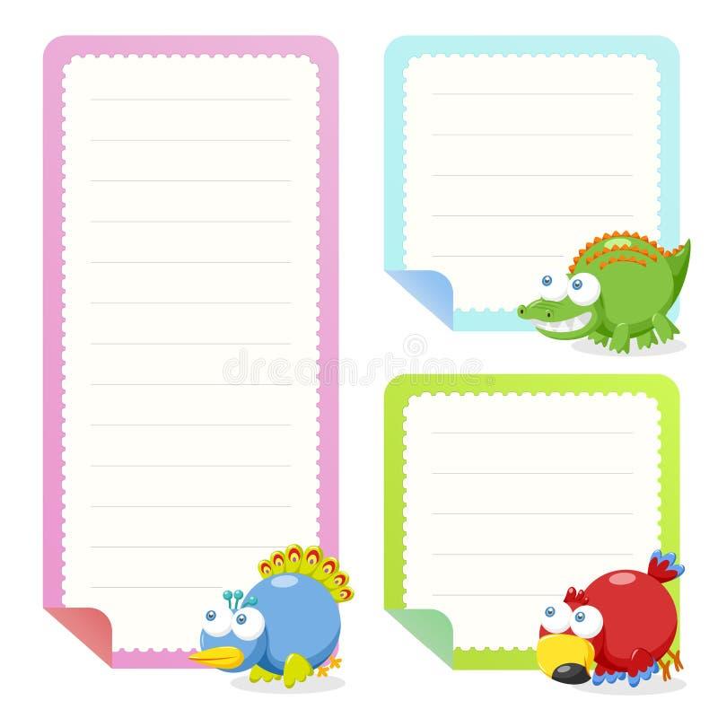 Colección animal linda de los papeles de nota stock de ilustración