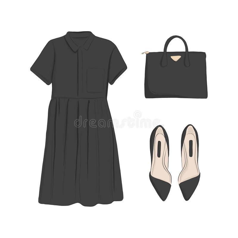 Colección básica de la mujer: planos, vestido negro, bolso Moda del encanto flatlay Elementos de la tienda de ropa Sistema casual ilustración del vector