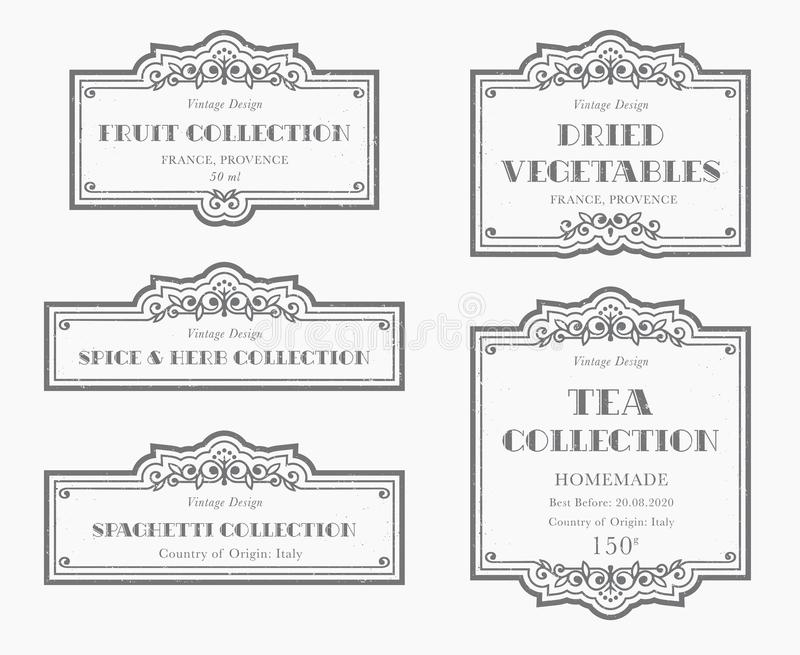 Colección blanco y negro adaptable de la etiqueta de la despensa libre illustration