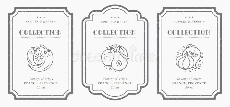 Colección blanco y negro adaptable de la etiqueta de la despensa stock de ilustración