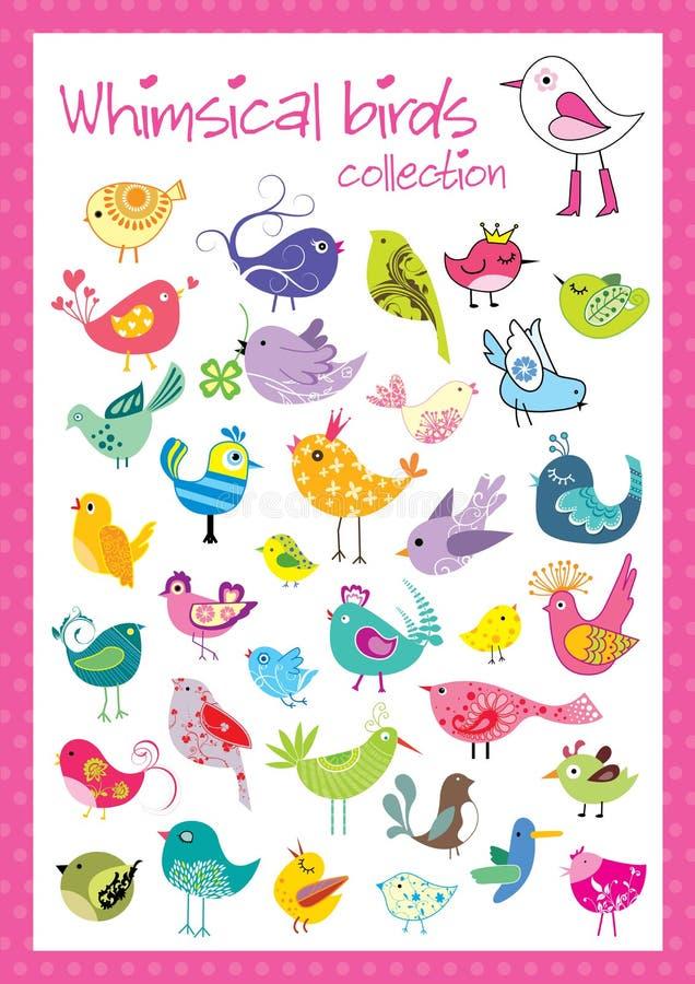 Colección caprichosa de los pájaros stock de ilustración