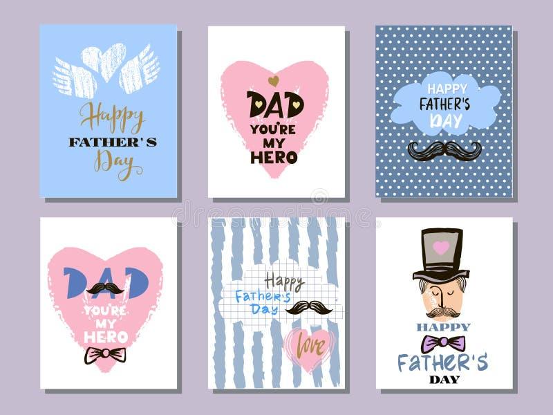 Colección cards9 del día del ` s del padre ilustración del vector