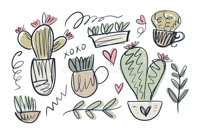 Colección casera acogedora linda de los cactus del tema Graphhics del vector ilustración del vector