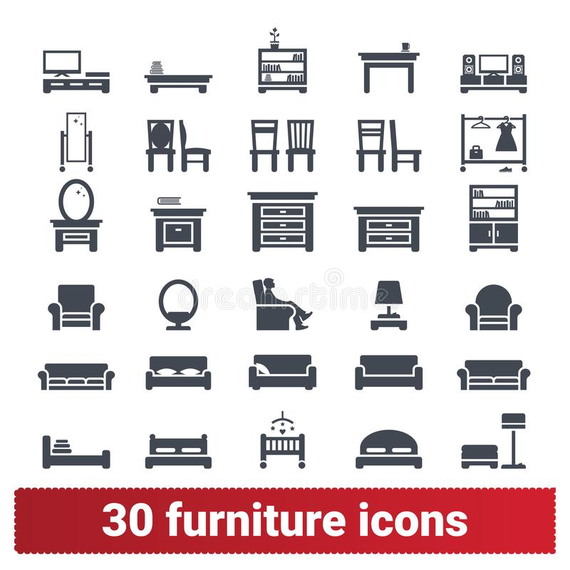 Colección casera de los iconos de los muebles y de los accesorios libre illustration