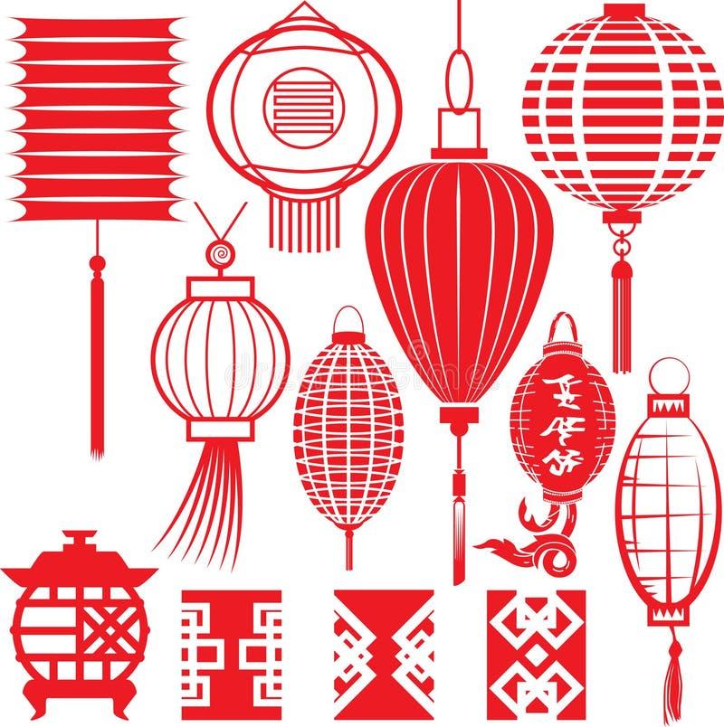 Colección china de la linterna ilustración del vector