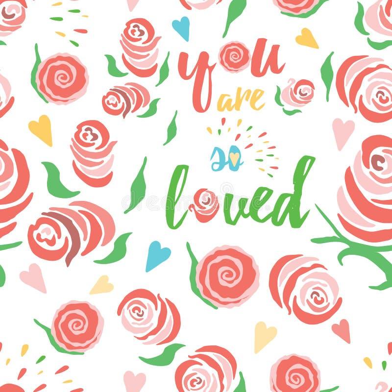Colección color de rosa del modelo de la elegancia lamentable con cita inspirada Fondo floral inconsútil stock de ilustración