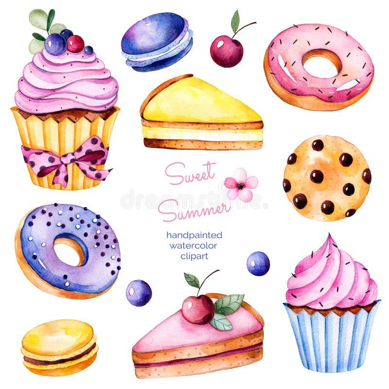 Colección colorida con 13 elementos de la acuarela stock de ilustración