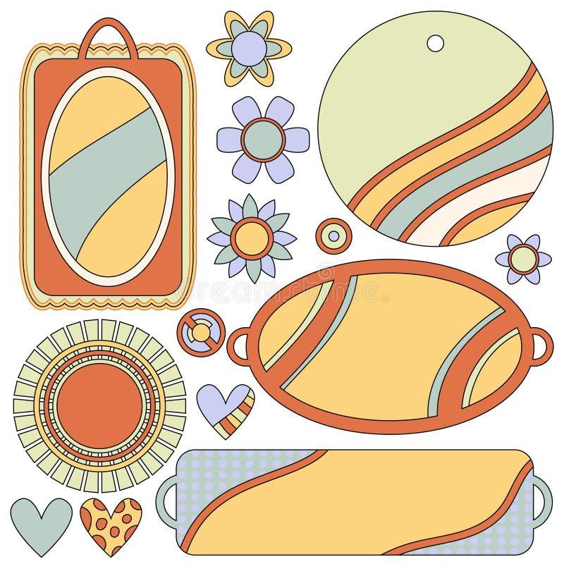 Colección colorida con las etiquetas, las etiquetas, las flores y los corazones libre illustration