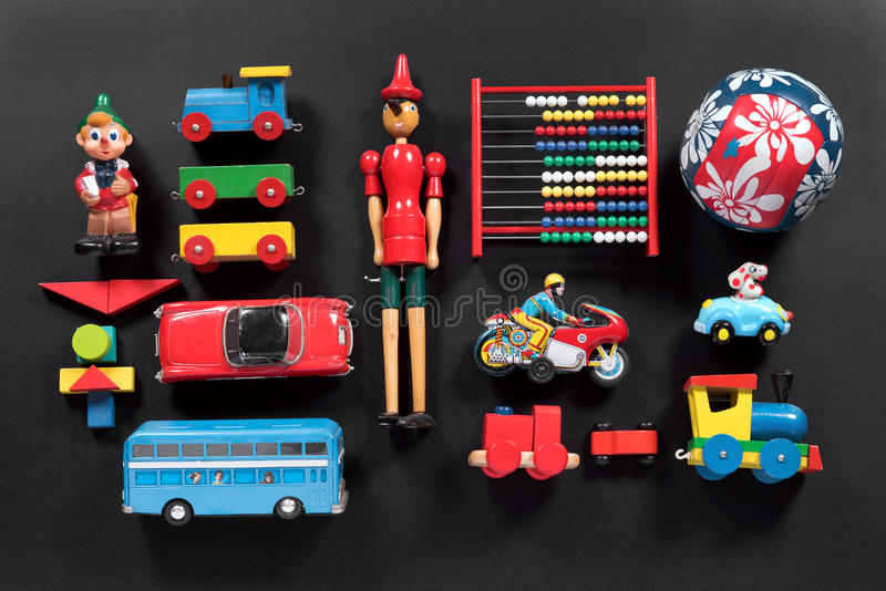 Colección colorida de juguetes lindos del vintage imagen de archivo