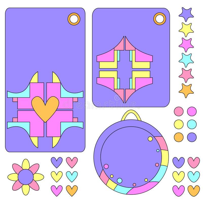 Colección colorida de la etiqueta con los corazones, la flor y las estrellas ilustración del vector
