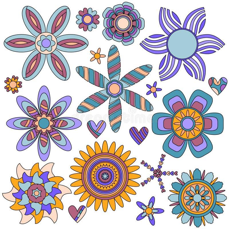 Colección colorida de la flor y del corazón libre illustration