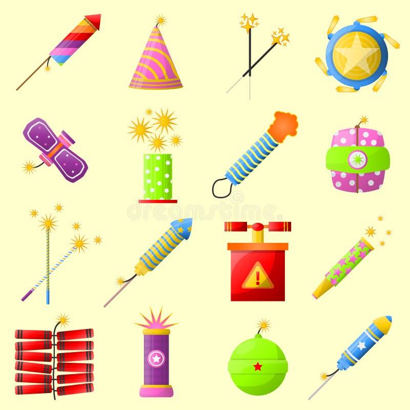 Colección colorida de la galleta del fuego para la diversión del día de fiesta stock de ilustración