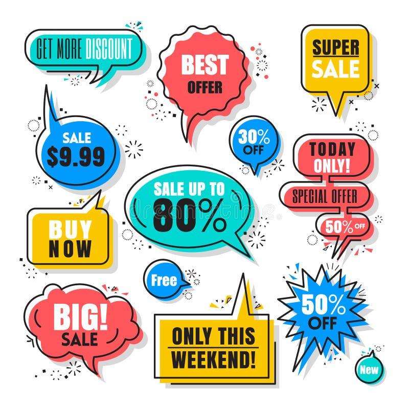 Colección colorida de las burbujas del discurso de las ventas ilustración del vector