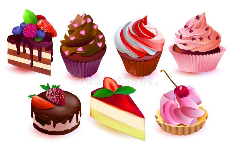 Colección colorida de las tortas ilustración del vector