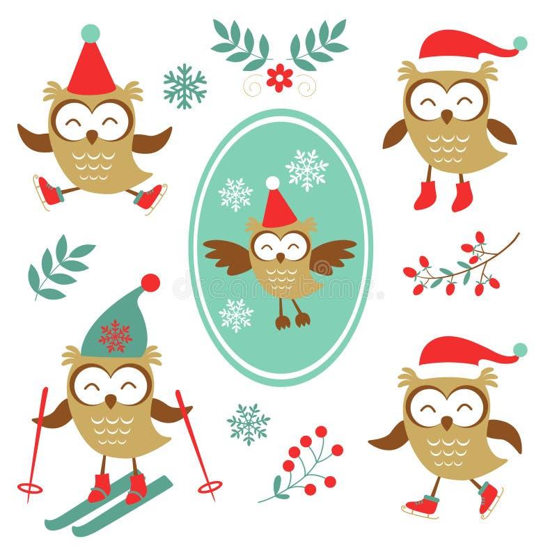 Colección colorida de los búhos lindos del invierno libre illustration