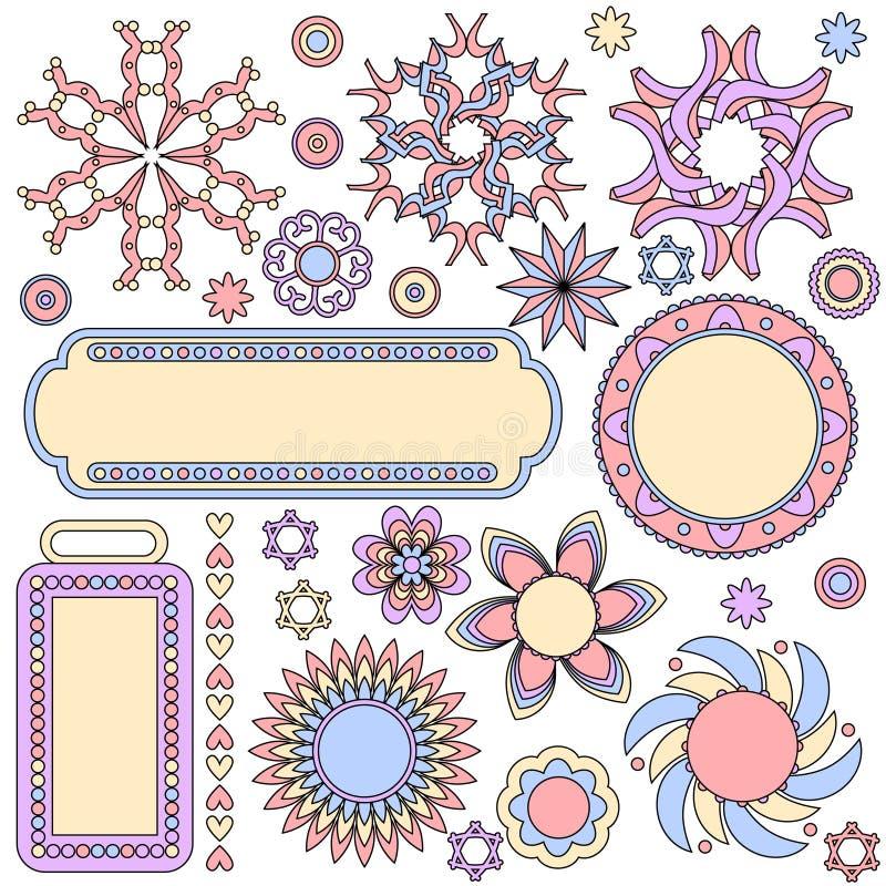 Colección colorida de los gráficos con las etiquetas, etiquetas, flores, corazones stock de ilustración