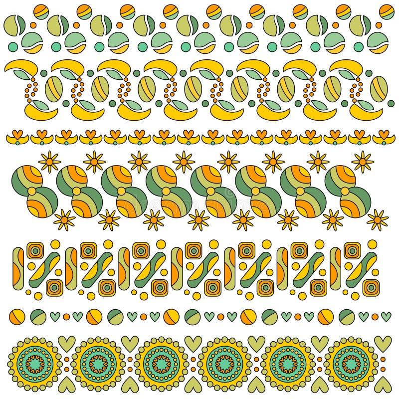 Colección colorida del ajuste con los corazones, las flores y los puntos ilustración del vector