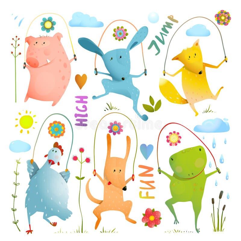 Colección colorida determinada de la cuerda de salto del animal ilustración del vector