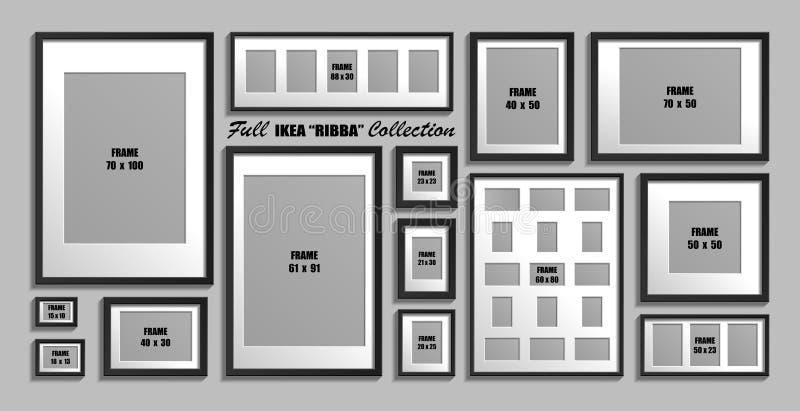 Colección completa de bastidores de la foto de IKEA Ribba Tamaños reales Sistema del vector de marcos negros con el passepartout  libre illustration