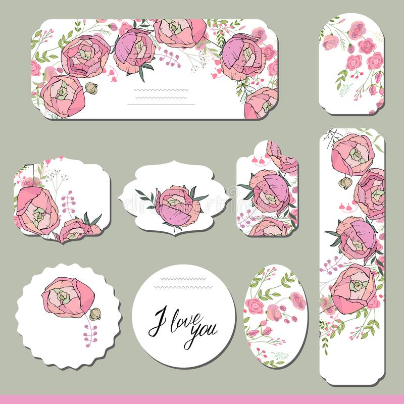 Colección con diversas etiquetas de papel florales ilustración del vector
