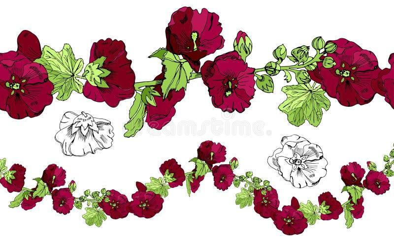 Colección con el cepillo sin fin, el ramo y las solas flores de la malva de Borgoña y de hojas verdes Bosquejo drenado mano stock de ilustración