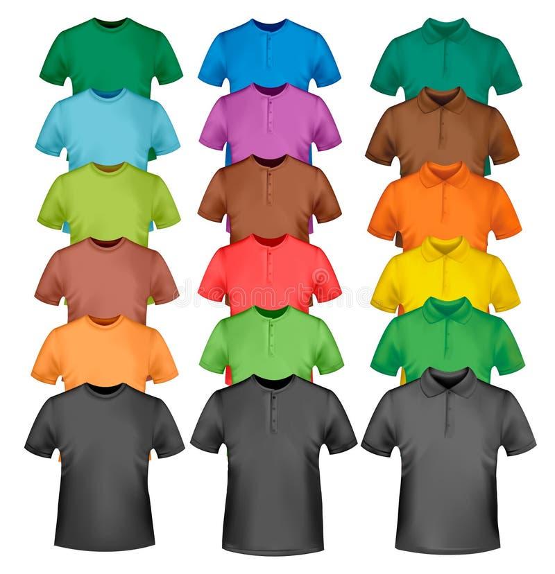 Colección con las camisas coloreadas y negras ilustración del vector