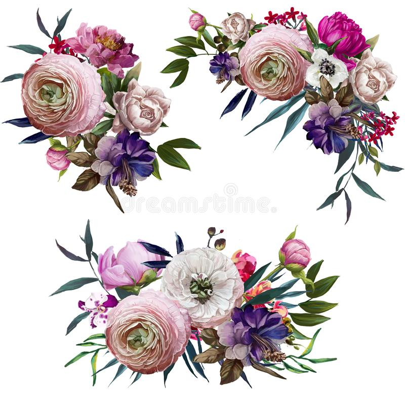 download coleccin con las composiciones florales stock de ilustracin ilustracin de retro celebracin - Composiciones Florales