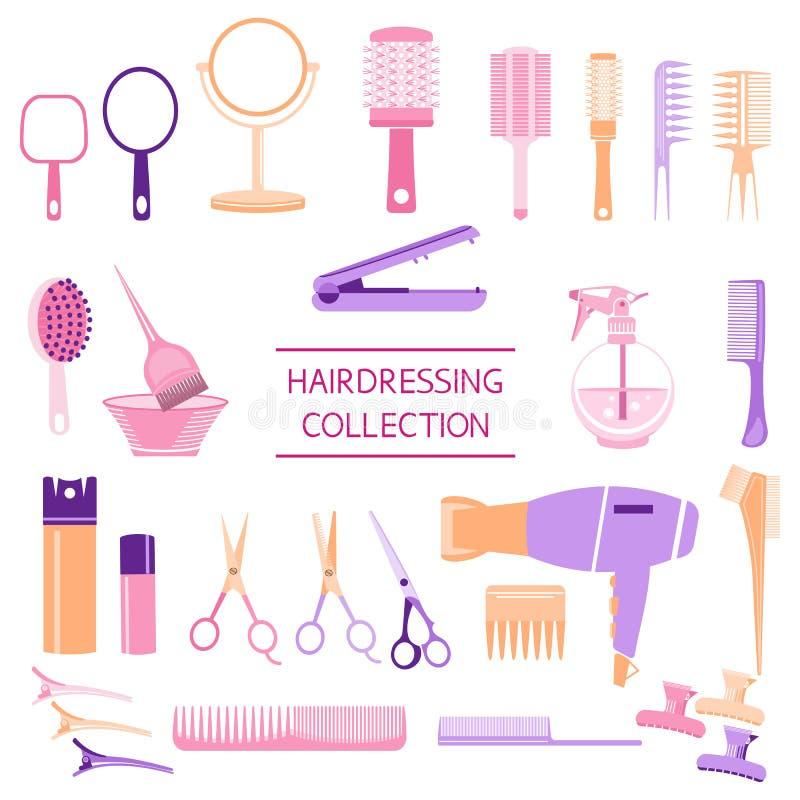 Colecci?n con las tijeras, cepillo para el pelo, hairdryer, espejo, cepillo redondo, laca para el pelo, enderezadora de la peluqu stock de ilustración