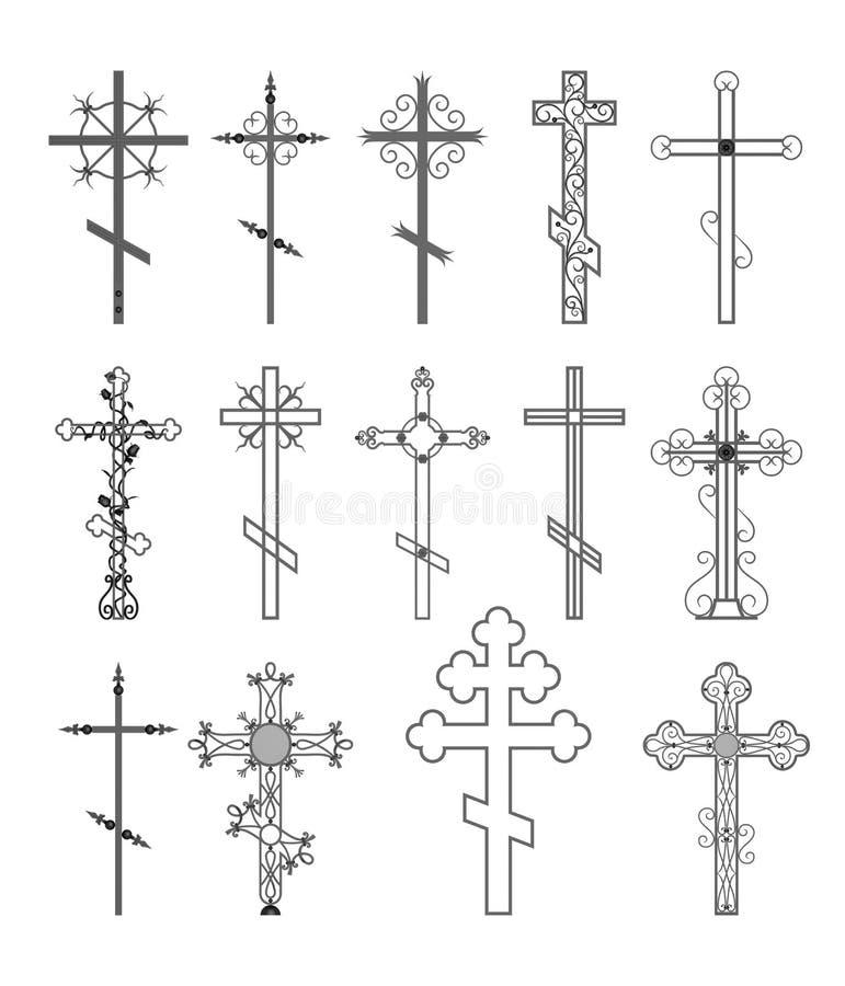 Colección cruzada religiosa del diseño ilustración del vector