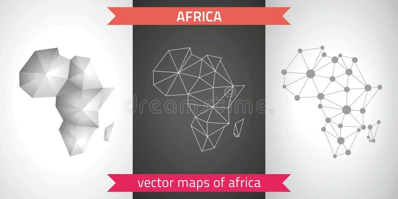 Colección de África de mapa moderno de los mapas del diseño del vector, gris y negro y de plata del punto del contorno del mosaic libre illustration