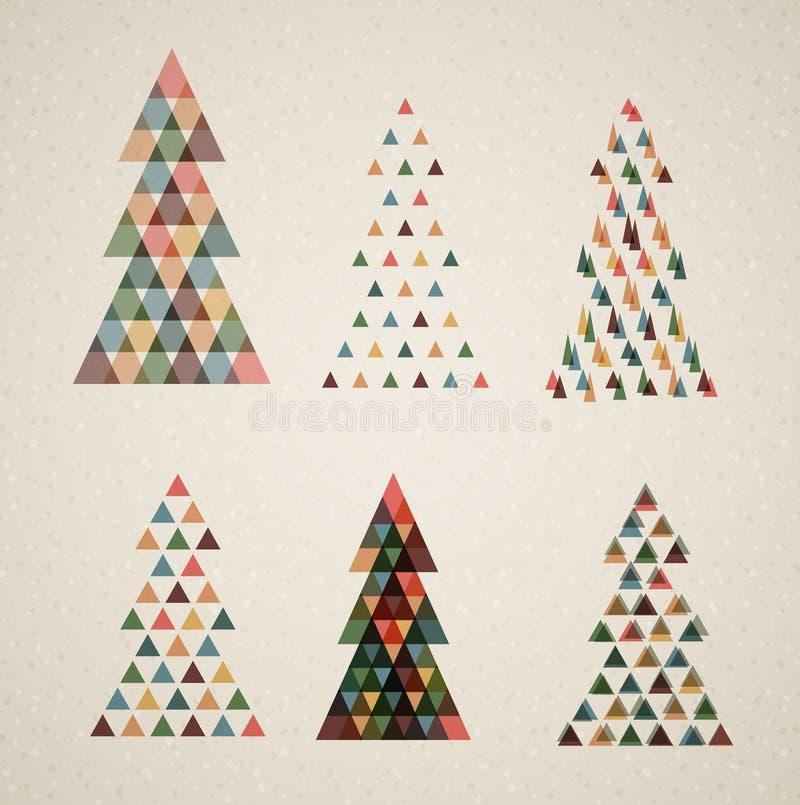 Colección de árboles de navidad retros del vector de la vendimia ilustración del vector