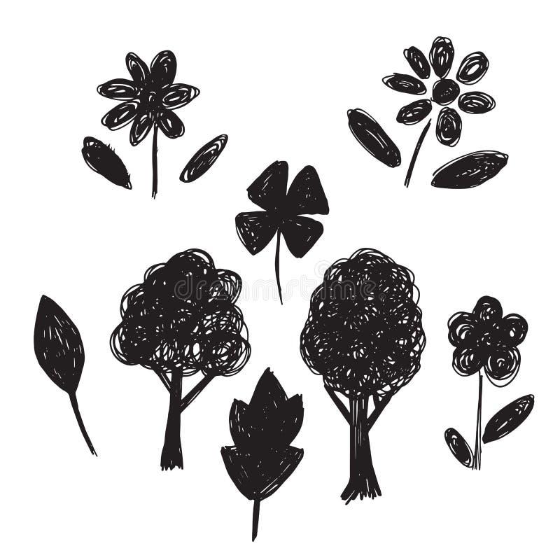 Colección de árboles a mano de los bosquejos, hojas, flores stock de ilustración